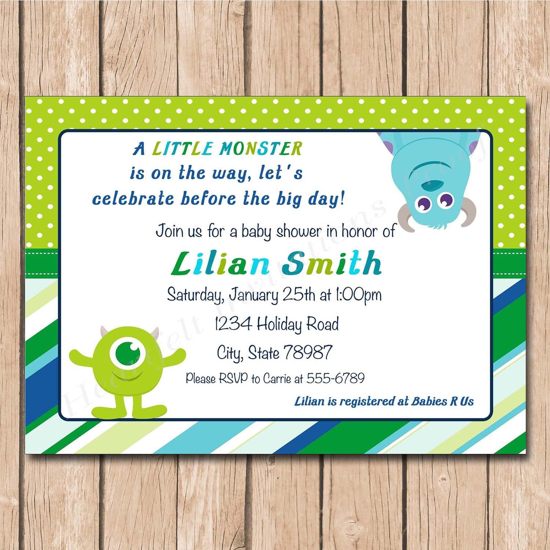 Mini Monsters Inc. Baby Shower Invitation 1.00 each printed