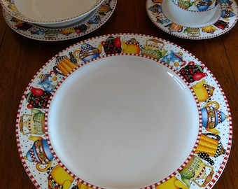 """Mary Engelbreit At Home by  Sakura  """"AFTERNOON TEA""""  20 Piece Set (4 Place Settings) - 1994"""