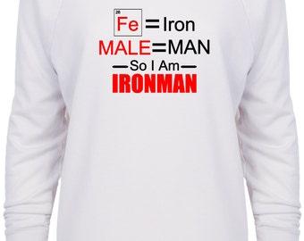 Female Iron Man Avengers Inspired Marvel Scientific White sweatshirt Black and White print