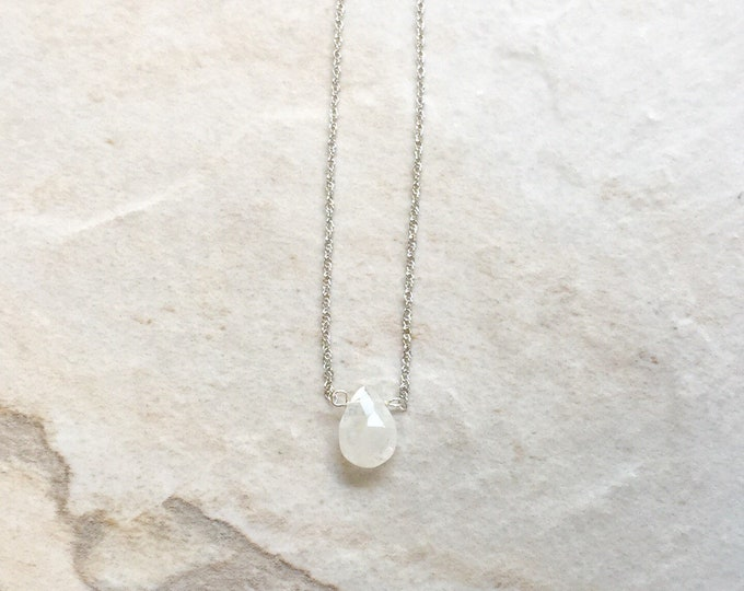 14k solid gold : Moonstone Solitaire Necklace