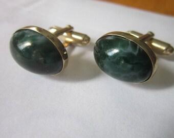 Vintage Retro Green Swirl Art Glass Cuff Links