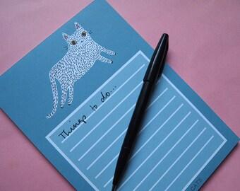 Cat List Pad - Cat NotePad - Cats - Lists - I like cats - Cats - Cat notebook - Notebook - Notepad - Cat book - paper