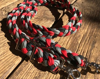 Red/Grey/Black paracord barrel reins, paracord reins, barrel reins, braided reins