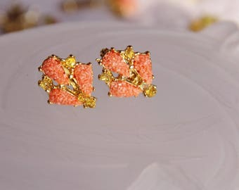 earring clips in pink coral and gold plated peridot mounted (bc 8)