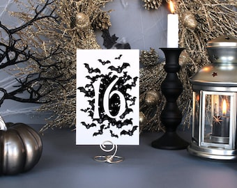 Halloween Bats Spooky Creepy Table Numbers Gothic Dark Black White Scary Fall Wedding Party Table Number