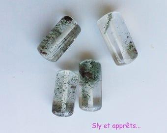 Quartz tube shaped beads of quartz, 4pcs, 15x8mm