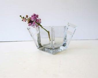 Vintage Clear Art Deco Sugar Bowl- Heisey Glass - Quator Pattern - Geometric Art Deco Design - Chic Bud Vase - Vintage Art Glass -