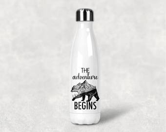 Adventure Begins Tumbler, Water Bottle, Hiking bottle, Mountain is calling, Mountain water bottle, Swell Inspired, Hike, camp