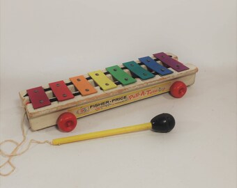 Vintage Fisher Price Wood Pull a Tune Xylophone 1964
