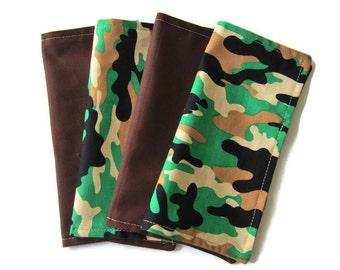 Kids Cloth Napkins, Cotton Reversible Napkins, Set of 4, Camo Print, Double Sided Lunchbox Napkins, Boys, Reusable, Washable, EcoFriendly