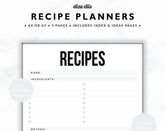 RECIPE PLANNER / Recipe Book / 2018 Planner / Recipe Printable / Recipe Pages / Recipe Binder / The Frankie Planners in Smoke / 420