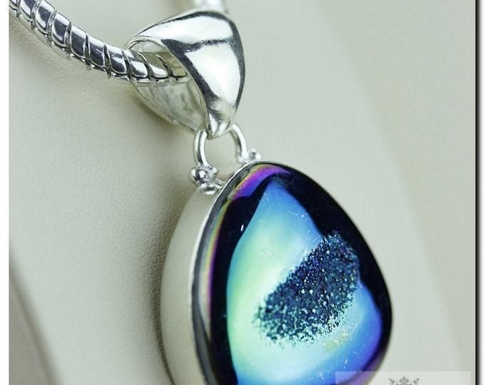 Intense Blue Titanium Window Drusy Druzy 925 SOLID Sterling Silver Pendant + 4mm Snake Chain & FREE Worldwide P1344