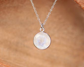 Silver moonstone necklace - solitaire necklace - june birthstone - silver bezel rainbow moonstone