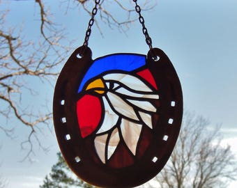 Stained Glass Eagle Suncatcher in Recycled Horseshoe Frame Patriotic Eagle Against Red and Blue Background Sun Catcher Glass Eagle