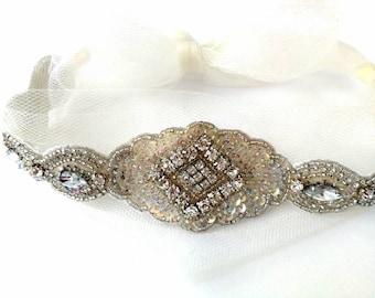 Elsie. Beautiful beaded headband with ivory tulle netting tie bow. Bridal boho wedding hairpiece. Vintage bride, retro wedding.