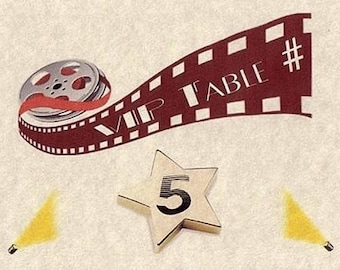 Movie Theme Wedding, birthday, anniversary, sweet 16, party, reception Favors Table Number Cards qty 30