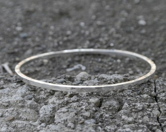 LOCUS Solid sterling silver hand-forged minimalist circle  bracelet distressed