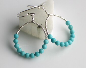 Silver and Turquoise, Thai Silver & Stone Beaded Earrings, Sky Blue Dangle, Artisan Handmade Earrings, Southwest Style