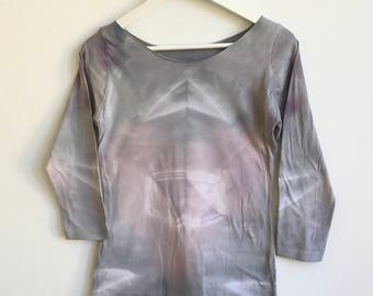 Soft Gray Jersey Top Boatneck and Hand Dyed
