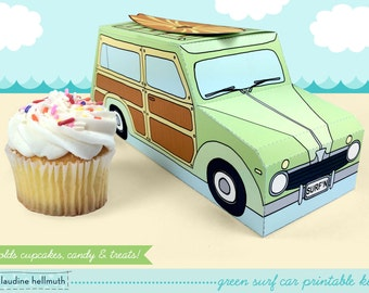 green woody surf car -  cupcake box holds cookies and treats, gift and favor box, party centerpiece printable PDF kit - INSTANT download
