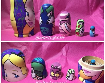 Hand Painted Alice in Wonderland Nesting  Dolls
