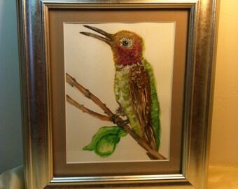 Framed, Ready to Hang Original Watercolor of Anna's Hummingbird