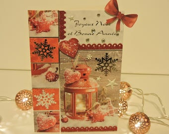 Red snowflake Christmas card, hearts silver 16.5 x 11.5 cm