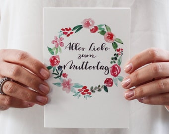 "Hand Lettering Muttertagskarte ""Alles Liebe zum Muttertag"""