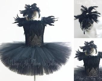 BLACK SWAN COSTUME 2pc Set, Tutu Dress, Crow, Raven, Blackbird, Hair Accessory, Girls, Halloween, Toddler, Ballet, Pageant, Ballerina, Kids