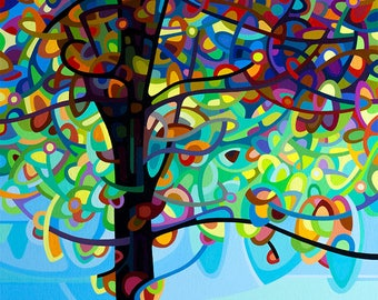 colorful riverbank tree, summer day, red, blue, Medium Signed Fine Art Giclee Print from my Original Abstract Painting - Along the River
