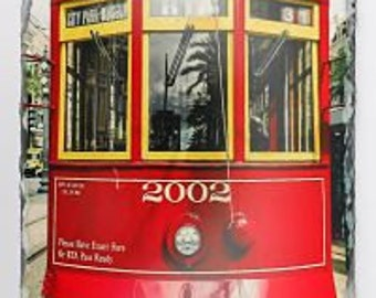 Red Street Car on Large Slate - New Orleans Street Car - New Orleans Home Decor - Decorative Slate - New Orleans Art - New Orleans Gift