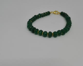 Green, jade, bracelet, made in Italy, gemstones, 925 sterling silver