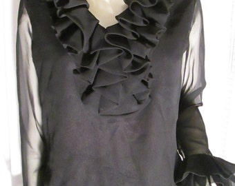 Vintage Ladies Black RUFFLED BLOUSE by Hart Production/Edith Hart