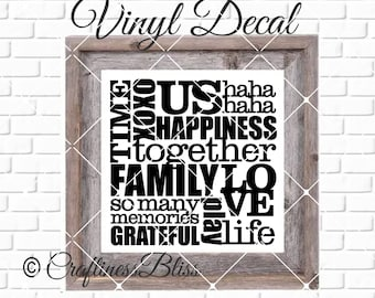 DIY Familiy Subway Art Vinyl Decal ~ Glass Block ~ Car Decal ~ Mirror ~ Ceramic Tile ~ Computer
