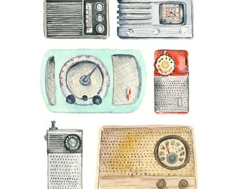 vintage radio art print // 8x10 //home decor wall art // archival giclee print