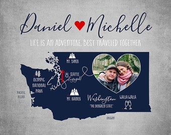 Personalized Engagement Map, Washington State, The Evergreen State, Seattle Engagement, Seattle Wedding, Mt. Rainier, Walla Walla | WF422