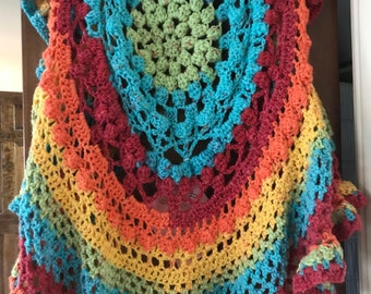 Hand Crocheted Mandala Circular Vest