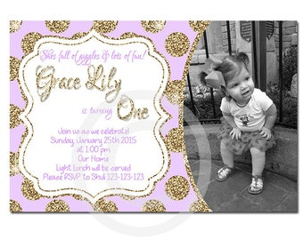 Purple and gold - first birthday - printable - DIY - digital file