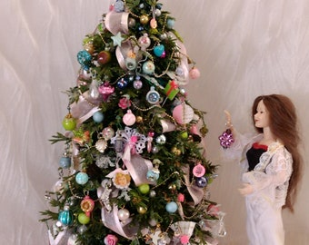 Miniature Christmas tree  1/12 scale by Mable Malley victorian shabby chic