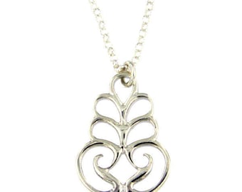 Scroll Silver Pendant– High polished sterling silver Necklace Hand Made in UK