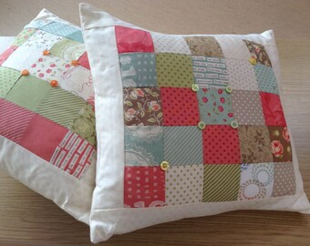 Patchwork Scatter Cushion with Button Detail
