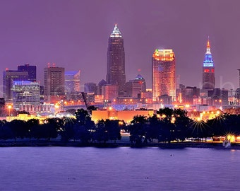 CANVAS Cleveland Skyline at NIGHT Panoramic Print Panorama Photographic Picture Edgewater