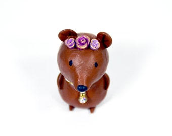 Springtime Bear Figurine  - One of a Kind Art Sculpture