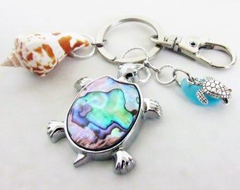 Sea Turtle Keychain, Sea Glass Keychain, Sea Shell Keychain, Beach Keychain, Car Accessories, Abalone Shell Turtle, Mom and Baby Turtle