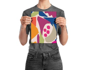8 x 10 Abstract Collage Pink Balls Art Poster