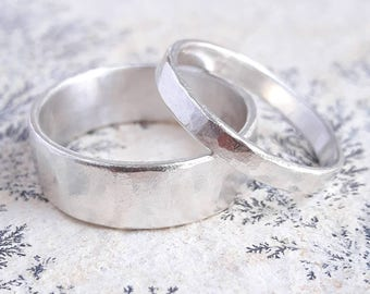 Matching Sterling Silver Wedding Bands - Romantic Wedding Rings - Matching Rings for Couples - Hand Made Wedding Rings - Traditional Rings