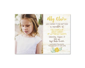 Girls Baptism Invitation - CUSTOM - Printable Invitation - Baptism Announcement - Mustard - Coral - Blue