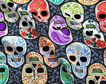 Rainbow Sugar Skulls Fabric - Calaveras Celebración Del Color Y Blanco Grande By Robinpickens - Cotton Fabric By The Yard With Spoonflower