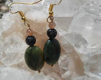 African Jade and Sunstone essential oil diffuser earrings