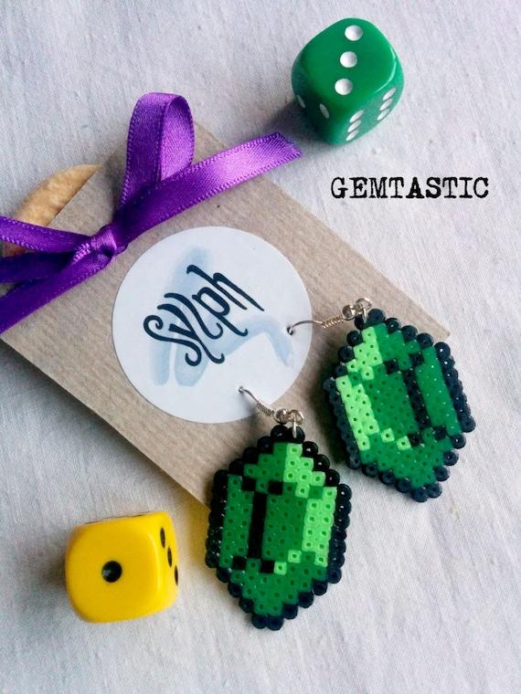 Darker shade of green 8bit Zelda game inspired Gemtastic crystal earrings for geeky gamer girls made of Hama Mini Perler Beads